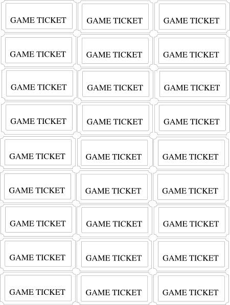 Reward Ticket Printable Template