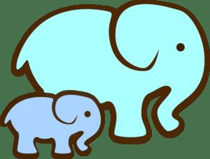 Download Blue Elephant Mom & Baby Clip Art at Clker.com - vector ...