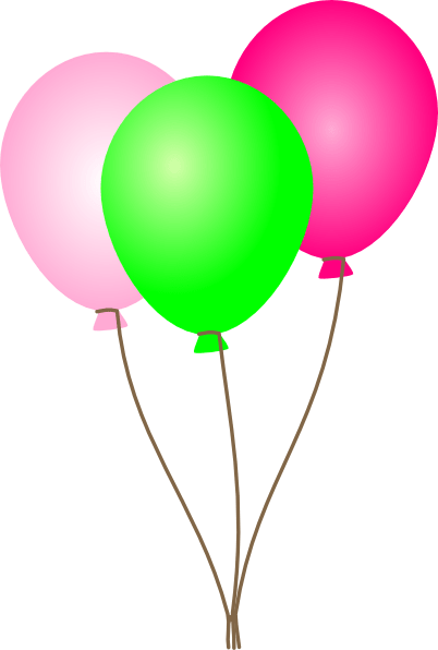 pink and green balloons clipart