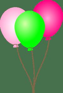 pink green balloons clip art