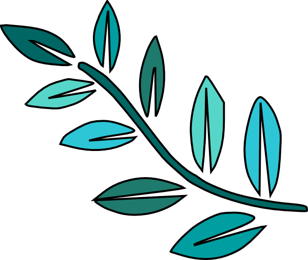 teal leaves clip art
