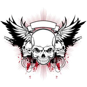 Ist Three Skull Wings  Free Images at Clkercom  vector
