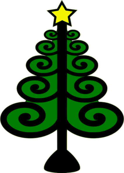 christmas tree with swirls clip
