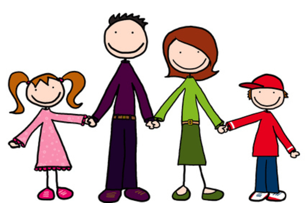 cartoon family holding hands