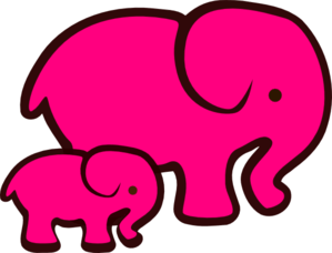 Pink Elephant Mom & Baby Clip Art at Clker.com - vector ...