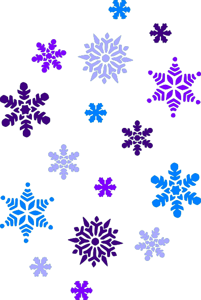 multi blue snowflakes clip art