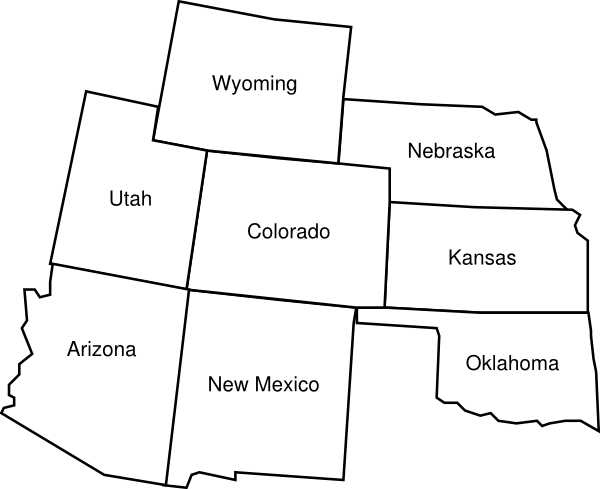 Colorado Map With Surrounding States With Labels2 Clip Art