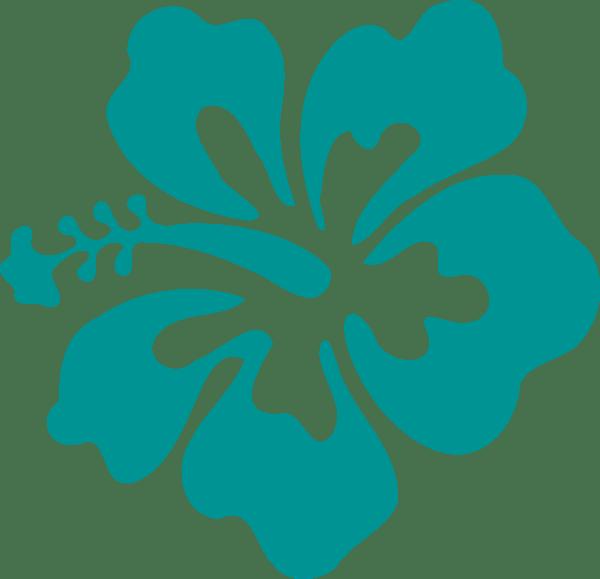 hibiscus teal green clip art