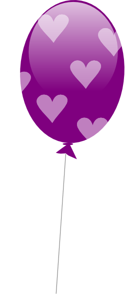 purple balloon with hearts clip