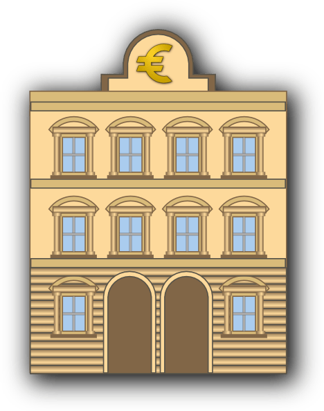 bank building with euro sign clip