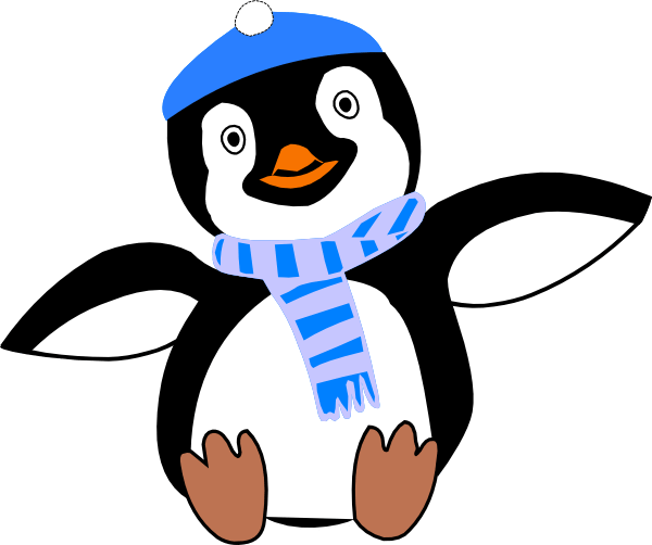 penguin wearing hat and scarf clip
