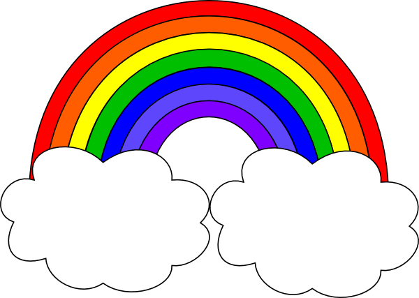 rainbow with clouds clip art