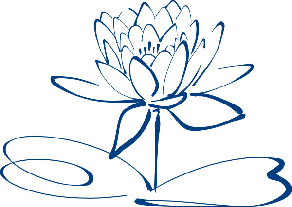 lotus flower outline blue clip