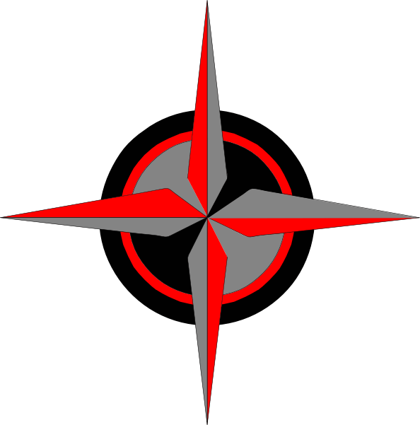 Red Black Silver Compass Clip Art At Vector