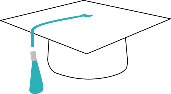 White Graduation Cap With Teal Ribbon Clip Art at Clker