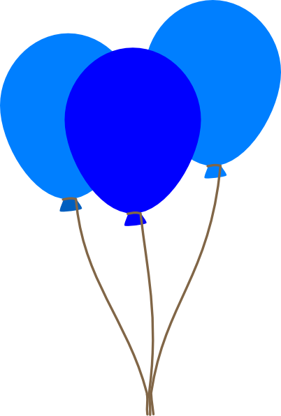 3 blue balloons clip art