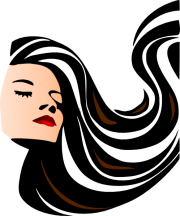 woman with shiny long hair clip