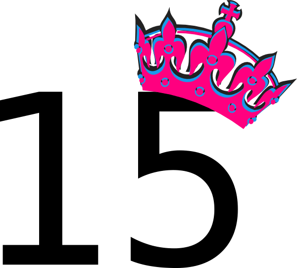 pink tilted tiara and number 15