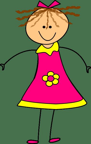 happy girl pink clip art