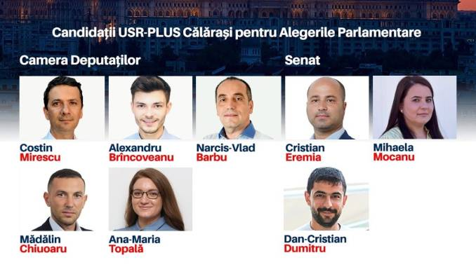 Listele USR - PLUS Călărași pentru alegerile parlamentare. FOTO Facebook