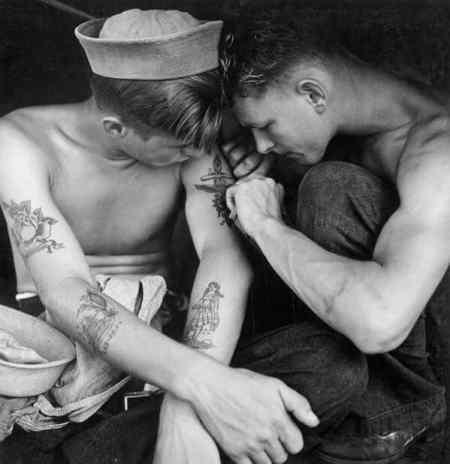 Tattooed sailor aboard the USS New Jersey