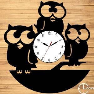 Ceas de perete din lemn negru Bufnita Clocks Design