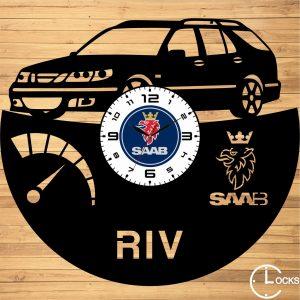 Ceas de perete din lemn negru SAAB 95 AERO Clocks Design