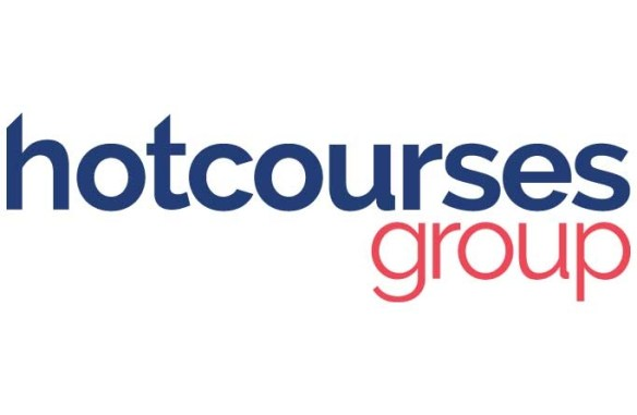 Hot Courses Logo Blue and Red Text