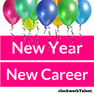 New Year New Career, multicoloured balloons with clockworktalent