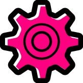 cartoon cog pink and black