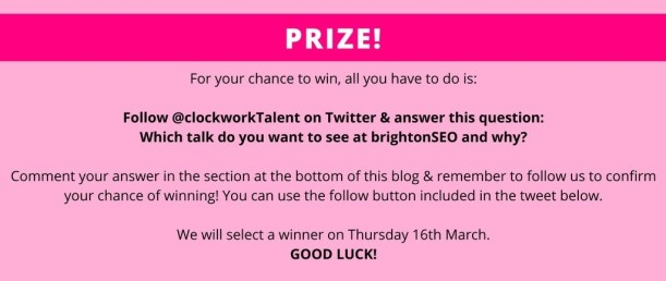 hwo to win a free ticket to brightonSEO in pink box