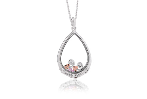 Silver and Gold Inner Charm Sapphire Glass Pendant