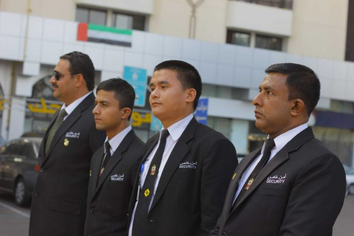MOI guards, from private security company in UAE.