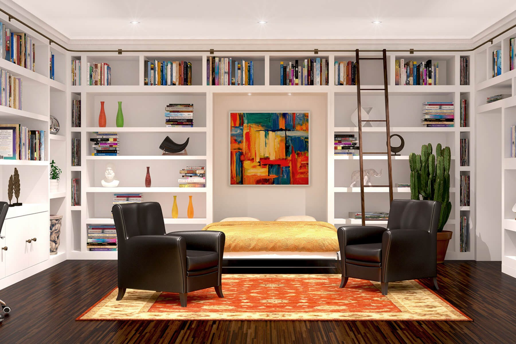 murphy bed in small living room decorating ideas for rectangular wall beds and cabinet design closet factory painted white library