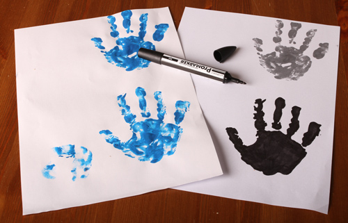 Handprints with paint and after filling it with color