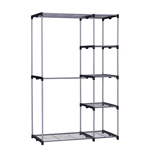 Homebi Freestanding Closet Organizer Double Rod Garment Rack Metal Wire  Shelving Unit Clothing Organizer With Double Hangers And 5 Tier Shelves In  Silver, ...