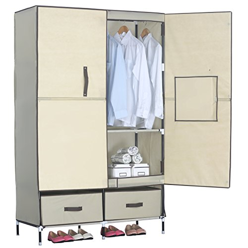 WOLTU Portable Clothing Closet Wardrobe Durable Clothes Storage System With Shoe  Rack Tower Black | Closet Systems Shop