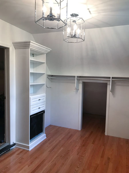 Sloped Ceiling Closet Design for Dressing Room With Three