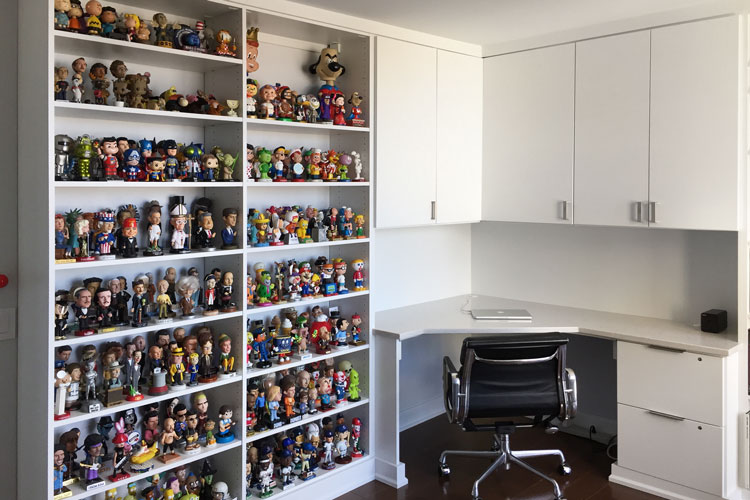 Home Office with Corner Desk Bookcase Shelves and
