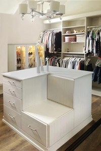 Closet Ideas with Lighted Shoe Case Display and Closet Island