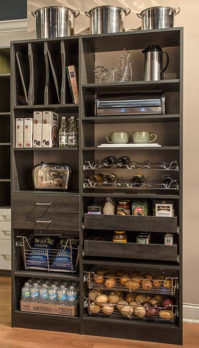 Simple Pantry Closet Wall with PullOuts and Pantry Shelves