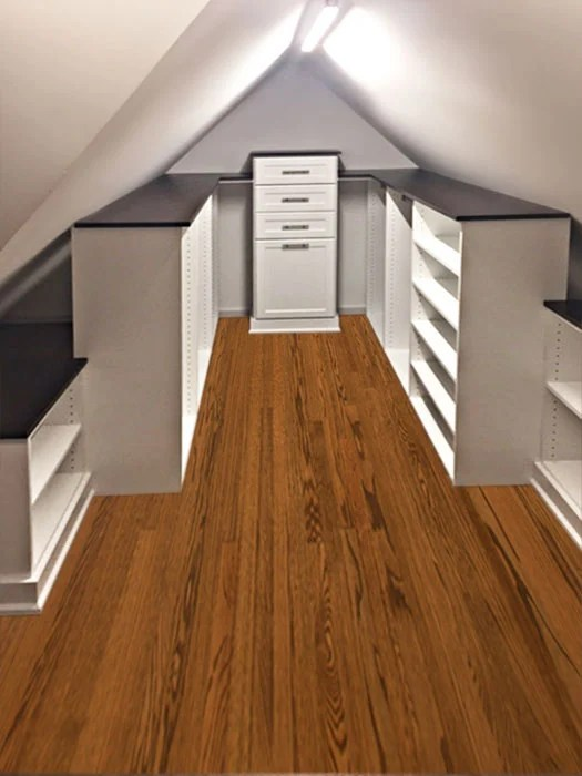 Closet Storage Solution for Slanted Ceiling and Sloped Walls