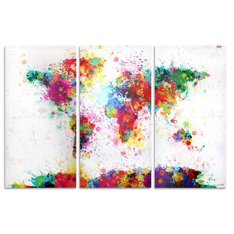 Weltkarte Watercolor Splash Aquarell  Michael Tompsett  Holz und Leinwanddrucke jetzt im Shop