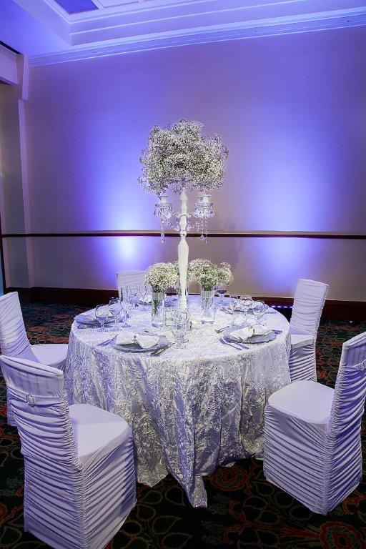 white banquet chair covers foldable lounge chairs icicle floret rope taffeta linen rental tablecloth