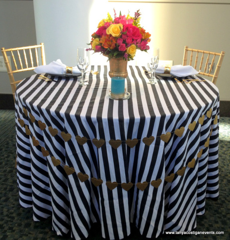 Black  White Stripe Table Linen Rental Tablecloth
