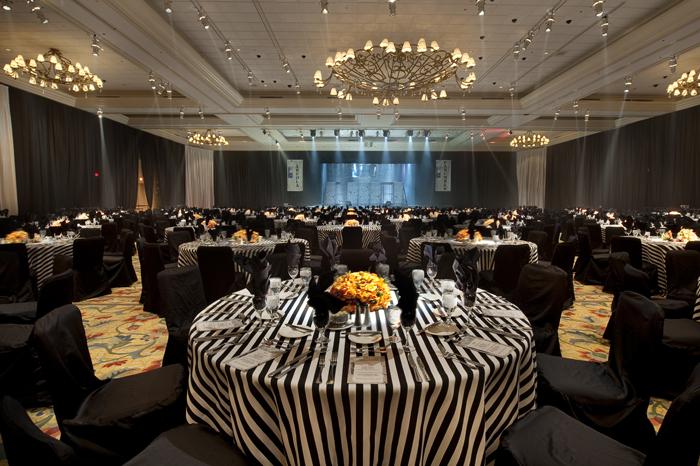 Black  White Stripe Table Linen Rental Tablecloth