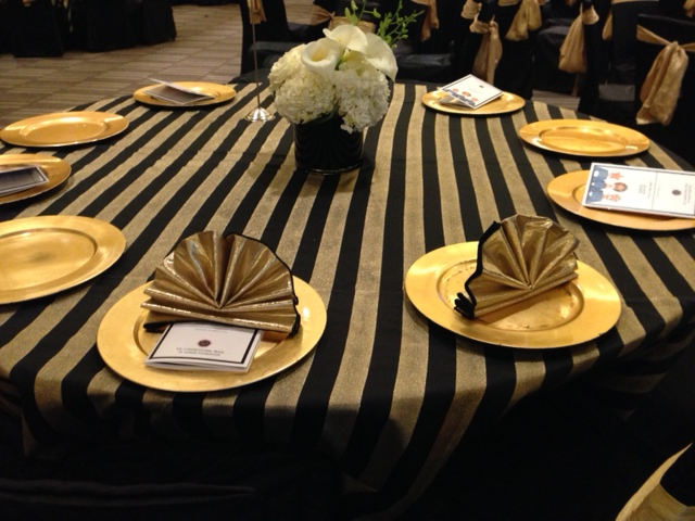 chair covers for event round cushion black & gold satin stripe table linen rental tablecloth