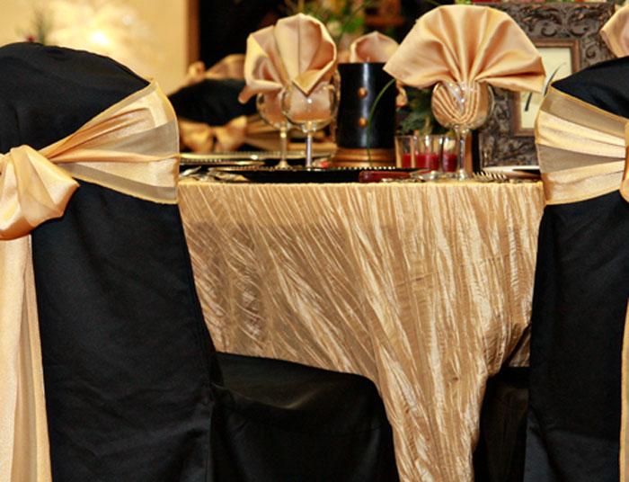 wedding chair sash accessories office quiz gold crinkle taffeta table linen rentals tablecloth