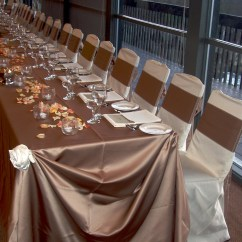Banquet Chair Covers For Rent Faux Leather And A Half Wedding Special Event Taupe Lamour - Cloth Connection