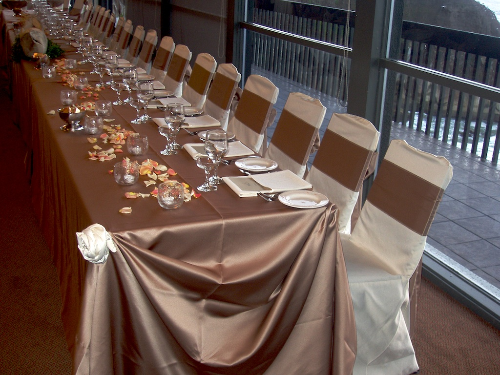 champagne banquet chair covers alera elusion series mesh mid back multifunction 2 wedding and special event taupe lamour for rent - cloth connection